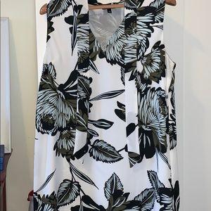 Printed Who What Wear Sleeveless Shirt Dress